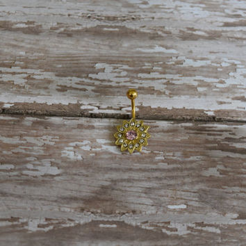 Golden Chrysanthemum Flower With Pink Center Belly Button Ring
