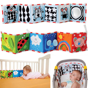 High Quality Colorful Patterns Baby Mobile Cloth Book Crib Bed Around Soft Plush Early Educational Cot Baby Toys -- BYC072 PT49