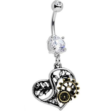 Clear Gem Steampunk Mechanical Heart Dangle Belly Ring