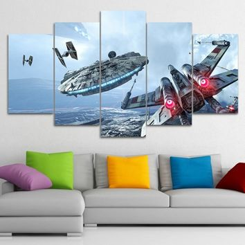 Star Wars Force Episode 1 2 3 4 5 Wall Art Canvas Framework Prints Millennium Falcon Pictures 5 Pieces  Movie Posters HD For Living Room Decor Paintings AT_72_6