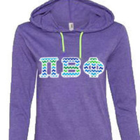 CUSTOM Ladies' Ringspun Long-Sleeve Hooded T-Shirt with Greek (Sorority) Letters