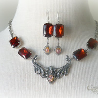 Vintage Madeira Topaz Necklace - Fire Opal Glass - Sterling Silver Plated - Tamikaalceedesigns