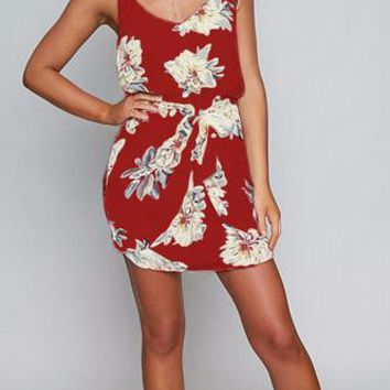 Red Floral Print Double V-Neck Elastic Waist Mini Dress
