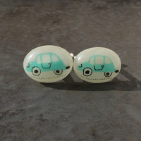 Blue Cars Cufflinks, Recycled Fabric Resin Cabochons, Car Jewelry, Resin Jewelry, Upcycled