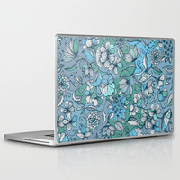 Hand drawn Floral in Blue, Grey & Mint Green Laptop & iPad Skin by micklyn