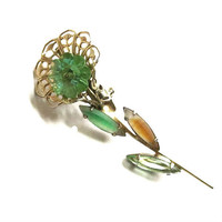 Vintage Green and Amber Rhinestones with Green Margarita Flower Brooch or Pin