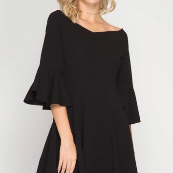 3/4 Bell Sleeve Fit and Flare Dress