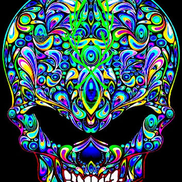 black light skull ebay psychedelic poster fabric cloth silk wall poster print U0055