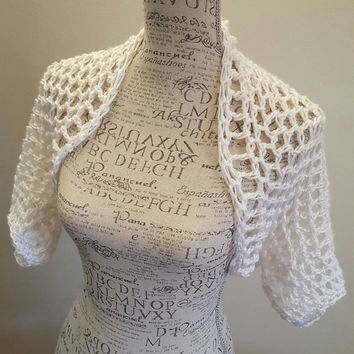 Crochet white Shrug. Bolero. Made by Bead Gs on ETSY. Size Medium. Summer top. Tank top Cover.
