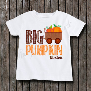 Big Brother or Big Sister Pumpkin Shirt - Big Pumpkin Sibling Shirt - Fall Autumn Theme Pregnancy Reveal - Only Child Upgrade - Personalized