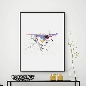 Woman print, Fashion print, Modern home decor, printable art, Sketch, Drawn, Wall art, Minimalist print, Wall Decor, DIGITAL FILES