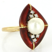 Vintage 18 Karat Yellow Gold Cultured Pearl Diamond Enamel Cocktail Ring Estate