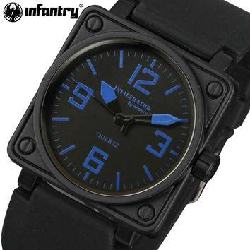INFANTRY Mens Quartz Watches Luxury Brand Square Face Big Dial Wristwatches Relogio Masculino Military Rubber Strap Sports Watch