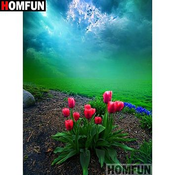 5D Diamond Painting Tulips on the Hill Kit