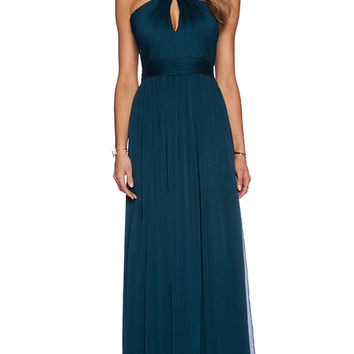 Halston Heritage Cross Neck Gown in Teal