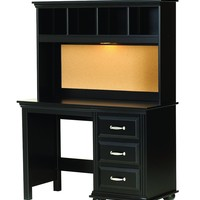 Lang Furniture Madison Desk Hutch with Light, 12 by 45 by 30-Inch, Black