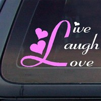 Live Laugh Love Car Decal / Sticker - White & Light Pink