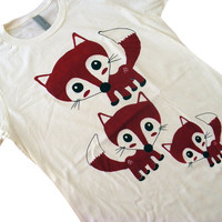 FOX Shirt - Cute Red Foxes T-Shirt - Available in Ladies sizes S, M, L, XL