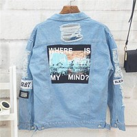 ESBONX5H Where is my mind? Korea retro washing frayed embroidery letter patch jeans bomber jacket Light Blue Ripped Denim Coat
