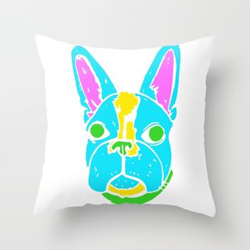 Neon Boston Terrier Throw Pillow by Maggie Jarvis