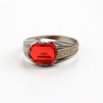 Vintage Silver Tone Simulated Ruby Ring - Art Deco Milgrain Wheat Hallmarked Uncas Size 10 Red Glass Stone Jewelry Hallmarked Uncas