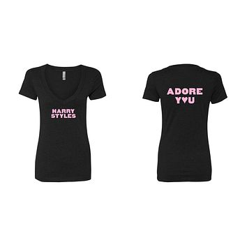 "Harry Styles ""HS / Adore You BACK"" V-Neck T-Shirt"