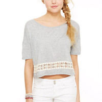 Crochet Bottom Short-Sleeve Tee -