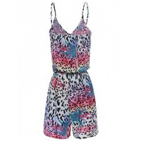 Stylish Spaghetti Strap Sleeveless Printed Low Cut Women's Romper