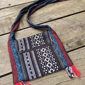 Aztec Bag pom pom Boho Cross body Festival Drawstring Purse Boho chic Hippies Styles Phone Case Pouch Bohemian woven gift for her Red