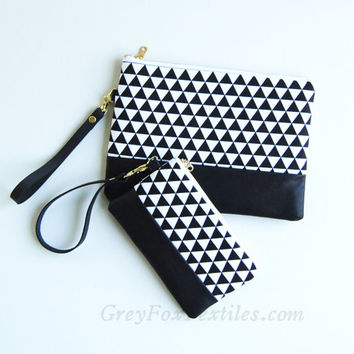 Black and white clutch, Triangle, Geometry, Mod, Wristlet, Makeup bag, Cosmetic case, phone case, coin purse