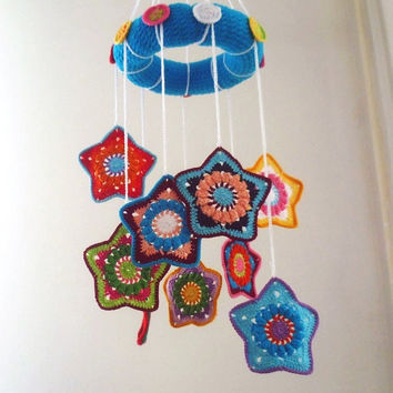 Crochet Pattern-Colorful Star Baby Mobile,Baby Girl Mobile,Baby Boy Mobile,Bright Colors,PDF file download
