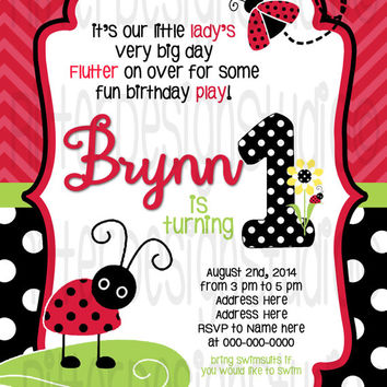 Lady Bug Polka Dot Birthday Invitation - Printable Digital file
