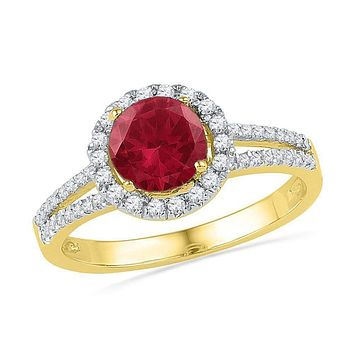 10kt Yellow Gold Women's Round Lab-Created Ruby Solitaire Diamond Halo Ring 1-5/8 Cttw - FREE Shipping (US/CAN)