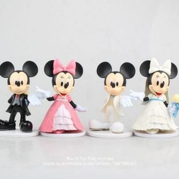 Disney Mickey Mouse Minnie 2pcs/set 11cm Action Figure Posture Anime Decoration Collection Figurine Toy model for children gift