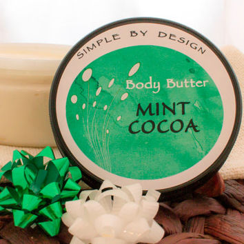 Mint Cocoa Whipped Body Butter 2oz Natural Whipped Body Butter, Great handmade gift idea!