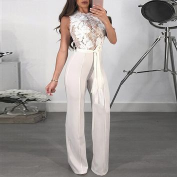 Glamaker Lace red sash sexy jumpsuit Long sleeveless transparent winter jumpsuit women overalls Party club jumpsuits rompers