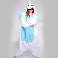 Kigurumi Pajamas Adult Anime Cosplay Halloween Costume Blue Unicorn Pyjamas (M)