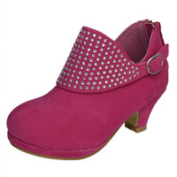 Kids Ankle Boots Buckle Accent Rhinestone High Heel Booties Pink SZ