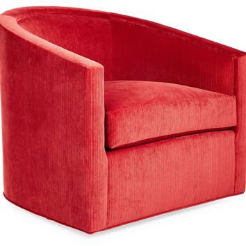 Georgia Velvet Swivel Chair, Vermillion, Club Chairs