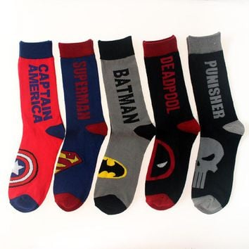 Avenger Union Captain America Superman Batmen Deadpool Punisher Street Tide Skateboard Sock Cotton Jacquard Men's Socks