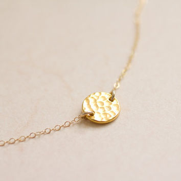 Gold hammered coin on gold filled chain necklace - dainty everyday jewelry by AmiesAmies