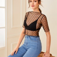 Sheer Dobby Mesh Crop Top Without Bra