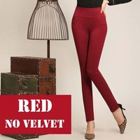 High waist women 2018 Winter warm velvet office work pencil pants capris plus size ladies formal trousers black red Blue female