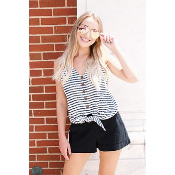 Nantucket Striped Tank, Black Stripe | Sanctuary