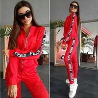 FENDI Trending Women Casual Print Zipper Long Sleeve Sweater Top Pants Trousers Set Two-Piece Sportswear Red