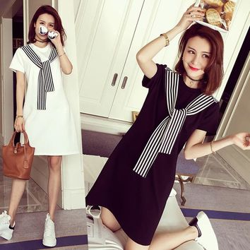 2018 Summer New Korean Loose Was Large Size Women's Long Section Short-sleeved College Wind With A Dress Female