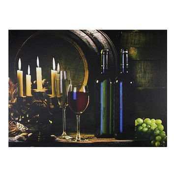 """LED Lighted Flickering Wine and Candles Canvas Wall Art 11.75"""" x 15.75"""""""