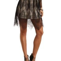 Scalloped Lace Skater Skirt by Charlotte Russe