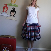 Vintage 60s Plaid Pleated Skirt - Mid Length Inverted Pleat Skirt
