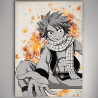 Natsu Dragonslayer Fairy Tail  Watercolor Print Poster Anime Manga 11.70 x 16.50 A3 No189